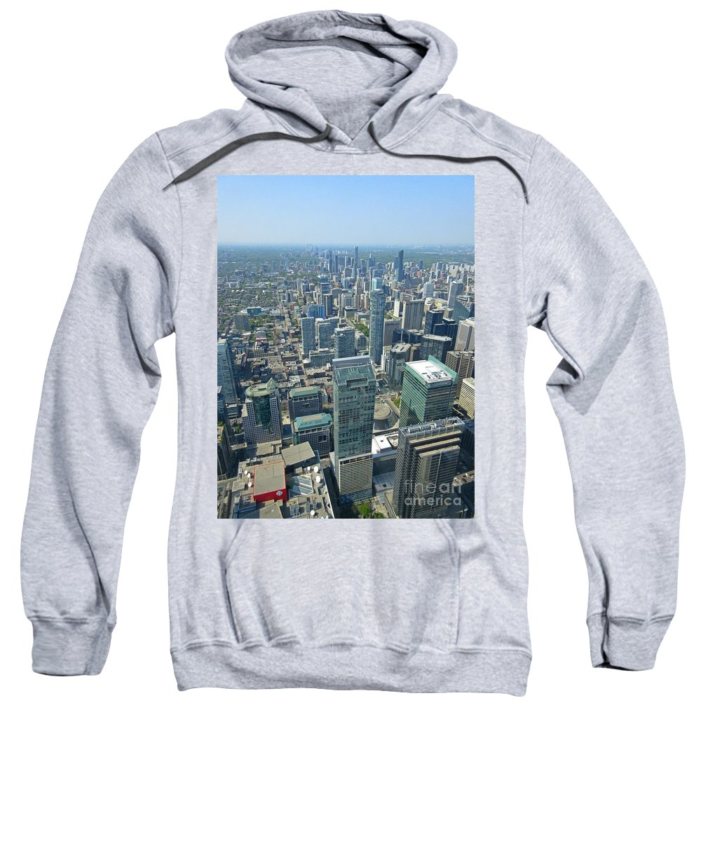 Aerial View Of Toronto Looking North Sweatshirt featuring the painting Aerial View Of Toronto Looking North by John Malone
