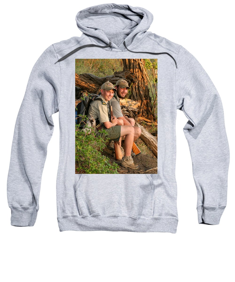 Carl Lotter Sweatshirt featuring the photograph African Game Guides by Joseph G Holland