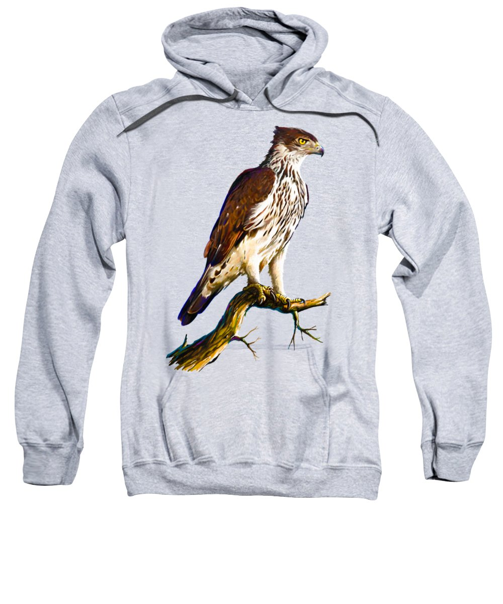 Kenya Sweatshirt featuring the painting African Hawk Eagle by Anthony Mwangi