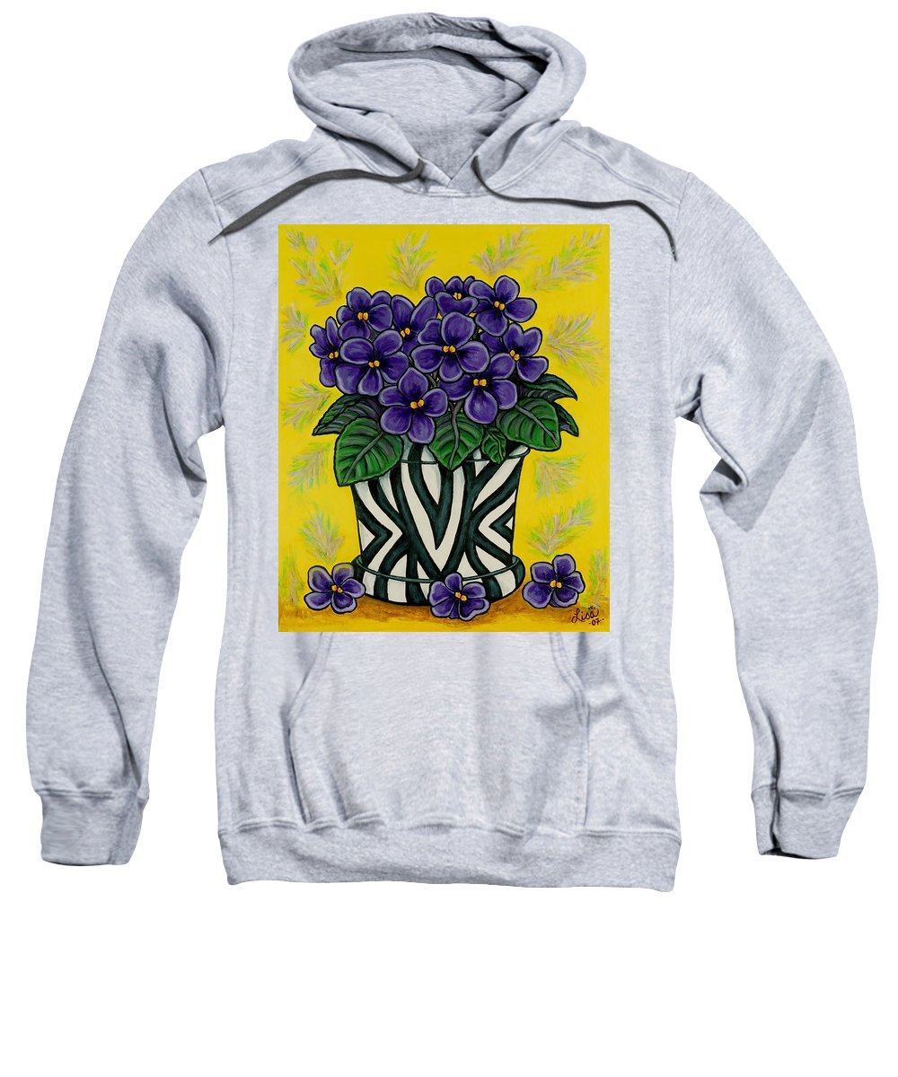 Violets Sweatshirt featuring the painting African Queen by Lisa Lorenz