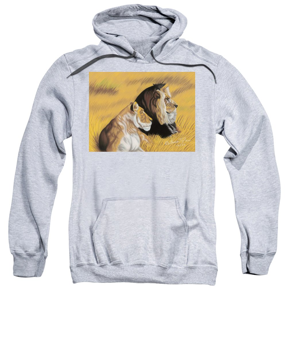 Paintings Sweatshirt featuring the pastel African Royalty by Lana Tyler
