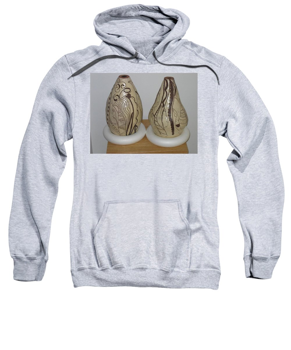 Jesus Sweatshirt featuring the ceramic art African Terracotta Gourds - View Two by Gloria Ssali