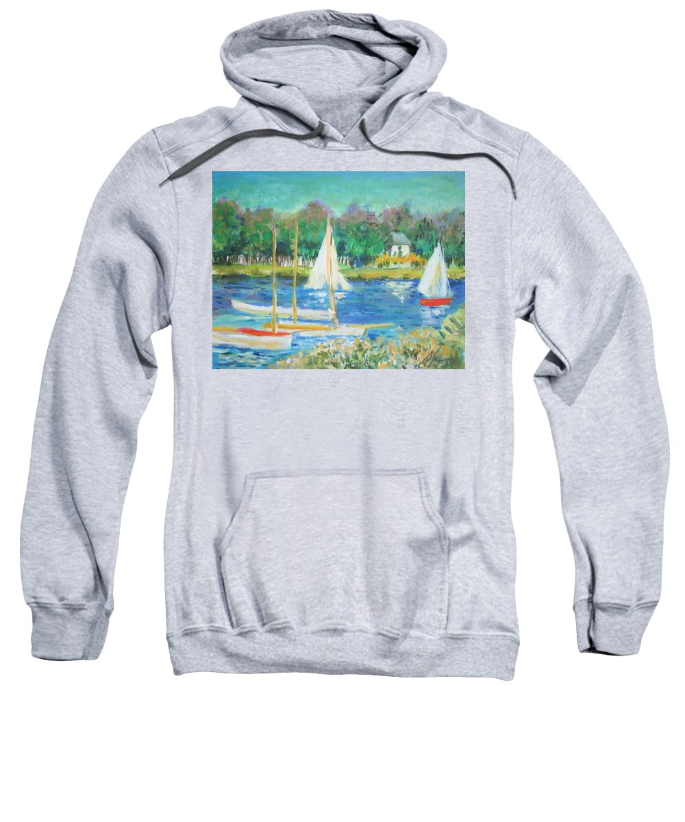 Water Sweatshirt featuring the painting After Monet by Melody Horton Karandjeff