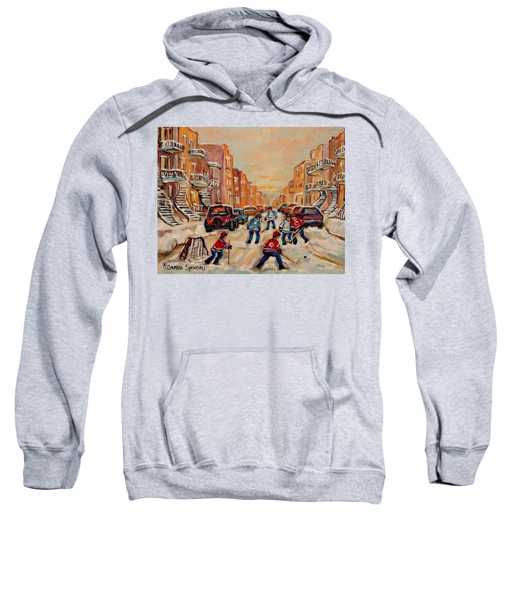 After School Hockey Game Sweatshirt featuring the painting After School Hockey Game by Carole Spandau