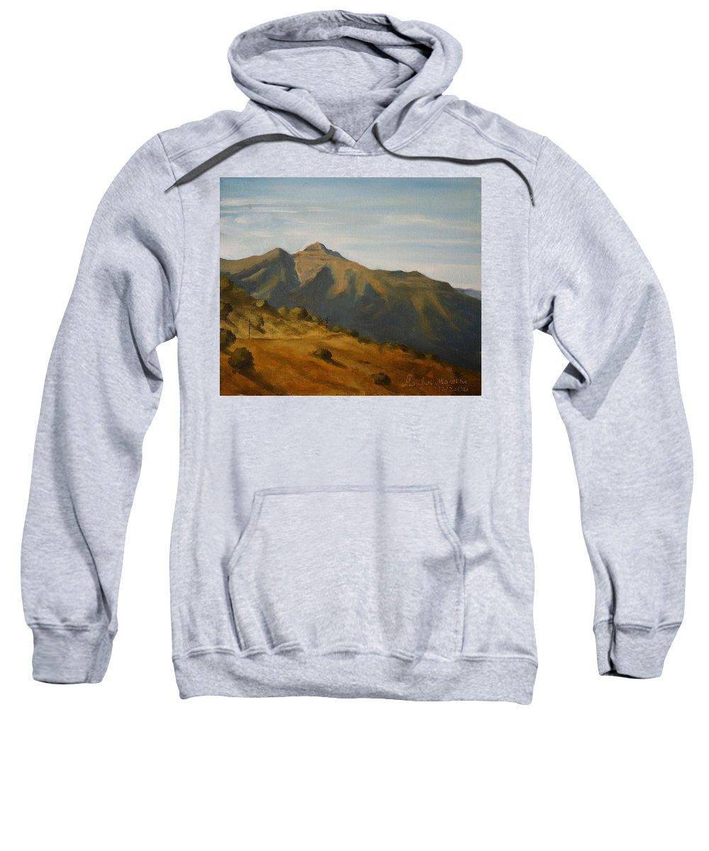 Oil Canvas Landscape Bhatghar Sahyadri Mountain Afternoon Bhatghar Sweatshirt featuring the painting Afternoon At Bhatghar by Mandar Marathe