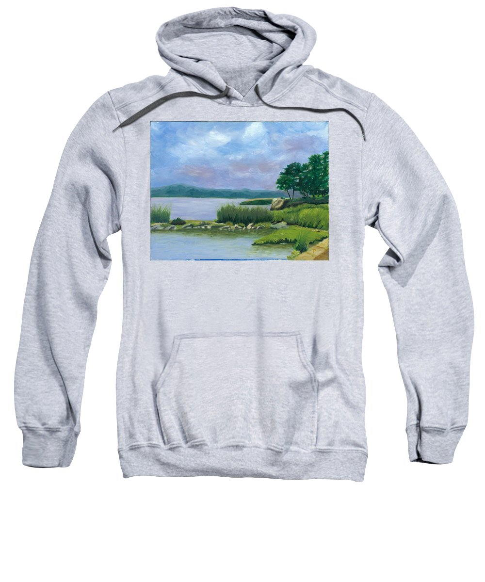 Seascape Sweatshirt featuring the painting Afternoon At Pilgrim by Paula Emery