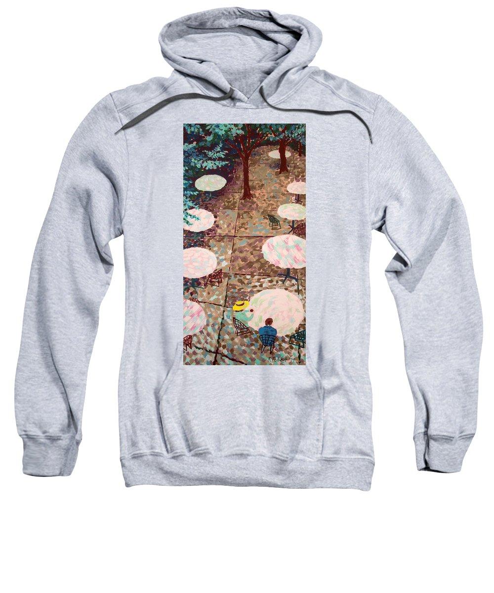 Bonnie Follett Sweatshirt featuring the painting Afternoon Coffee In New York City by Bonnie Follett