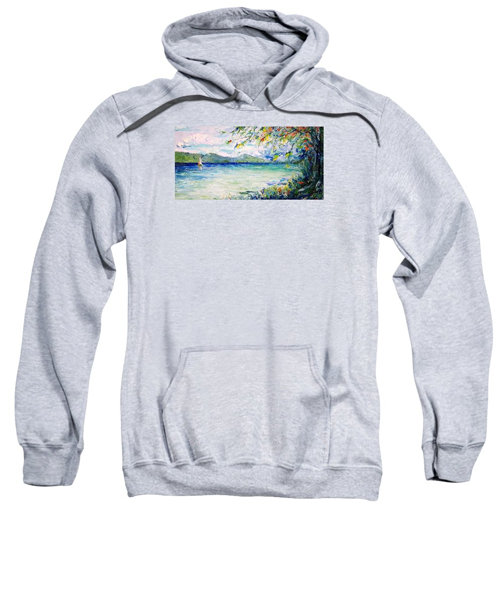 Landscape Sweatshirt featuring the painting Afternoon Sail by Jo Gerrior