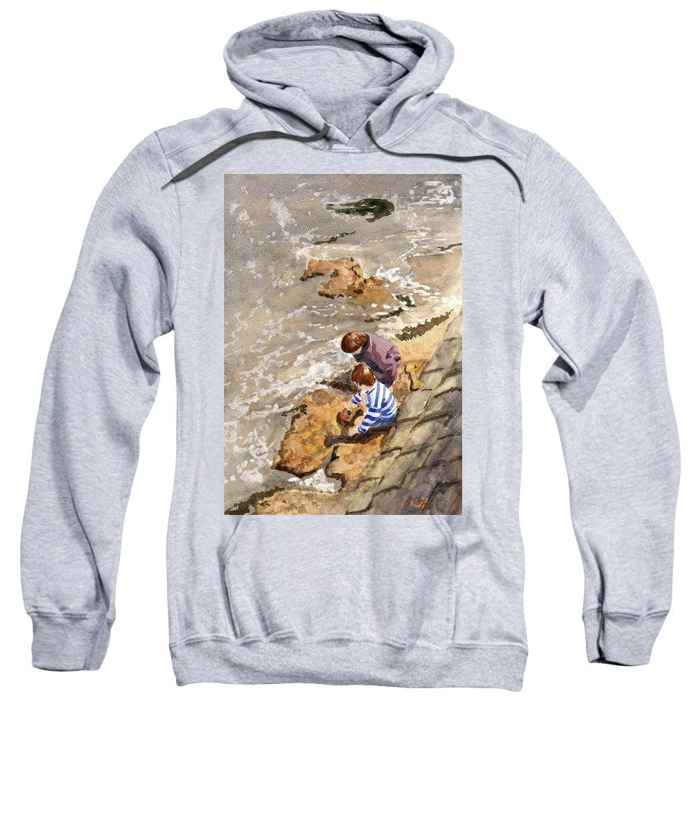 Water. Sea. Tide. Boys. Children. Coast. Beach. Coastal. Sand. Sea. Play. Sweatshirt featuring the painting Against The Tide by John Cox