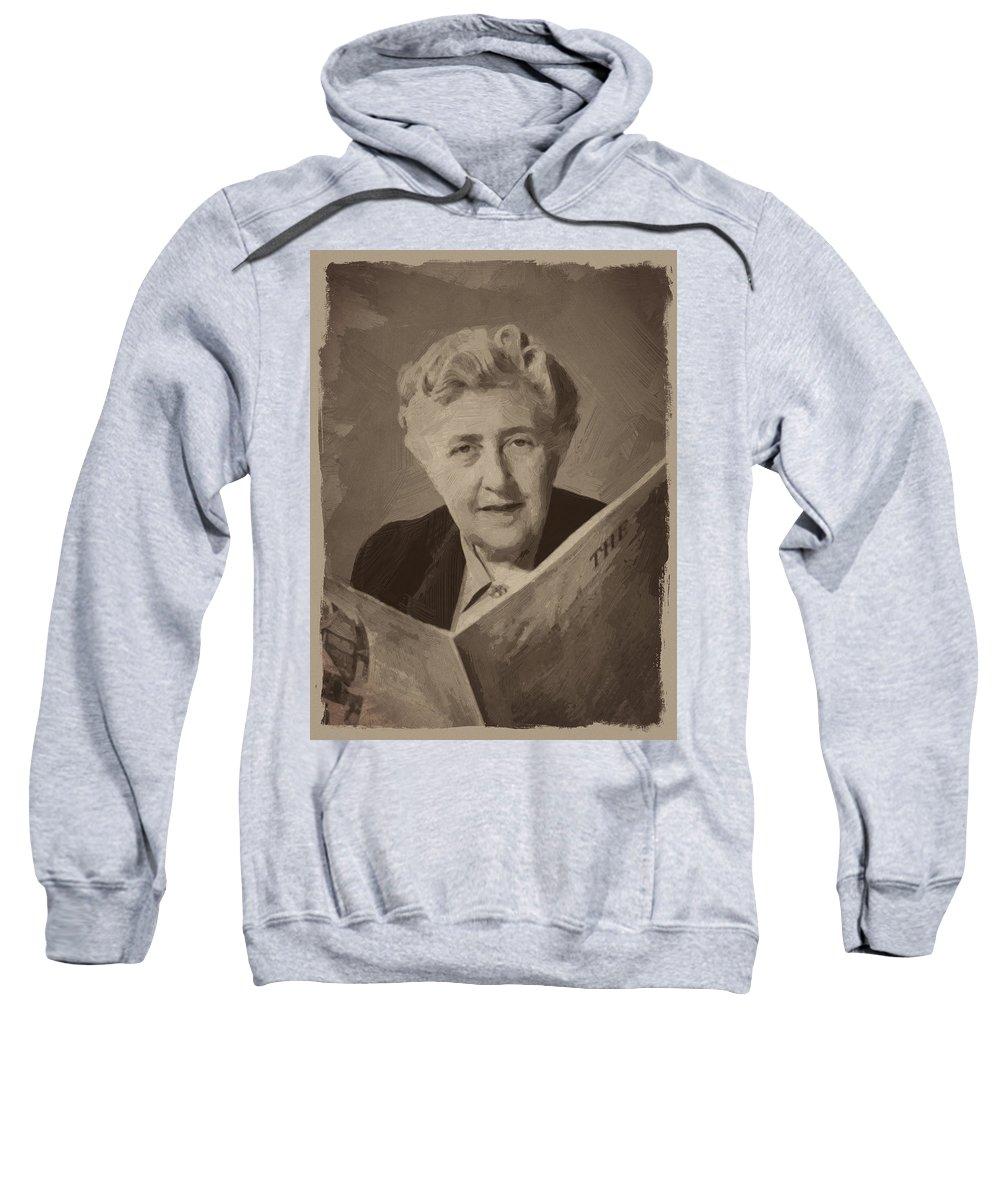 Agatha Christie Sweatshirt featuring the digital art Agatha Christie 3 by Afterdarkness