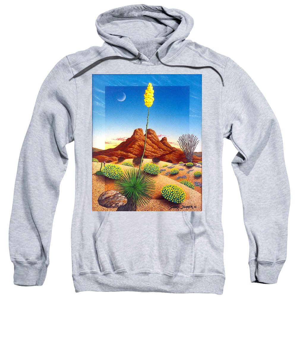 Agave Cactus Sweatshirt featuring the painting Agave Bloom by Snake Jagger