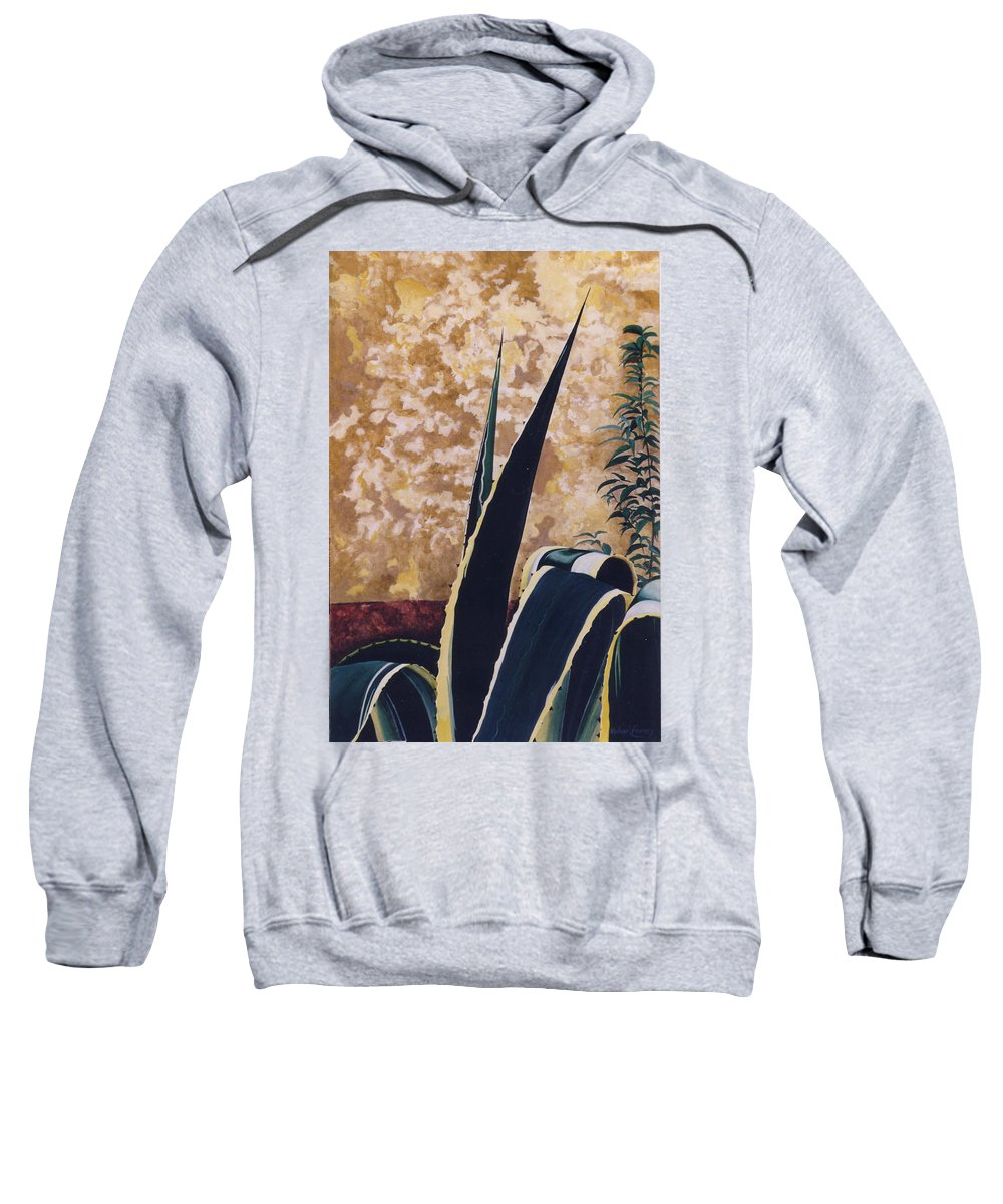 Hyperrealism Sweatshirt featuring the painting Agave I by Michael Earney