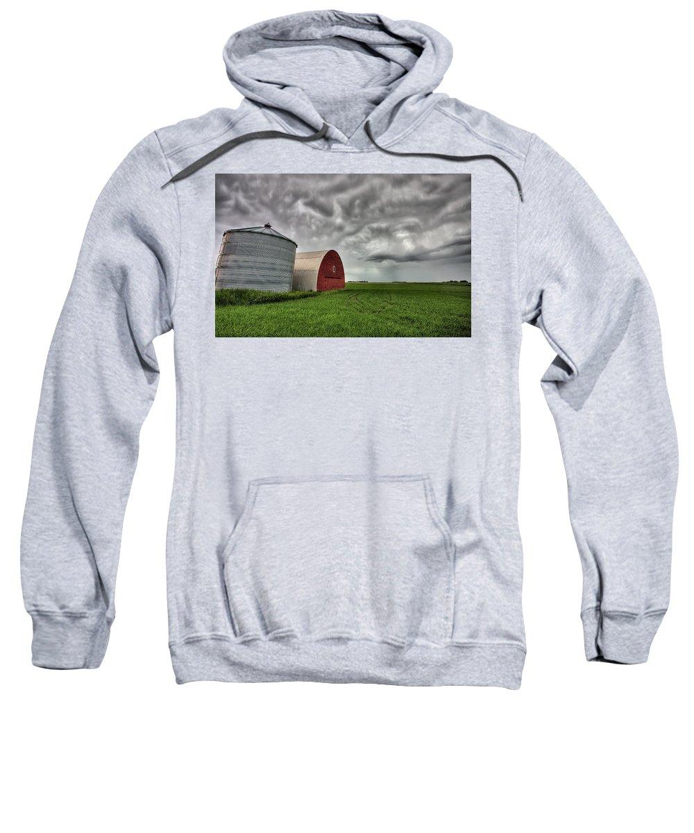 Storage Sweatshirt featuring the digital art Agriculture Storage Bins Granaries by Mark Duffy