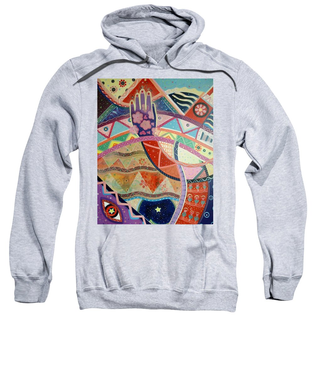 Hand Sweatshirt featuring the painting Aim High by Helena Tiainen