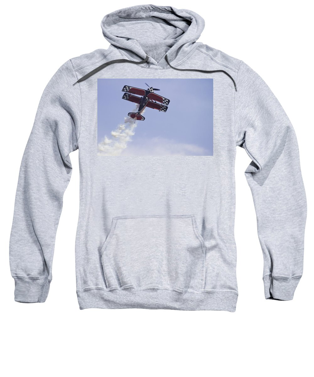 Airplane Sweatshirt featuring the photograph Airplane Performing Stunts At Airshow Photo Poster Print by Keith Webber Jr