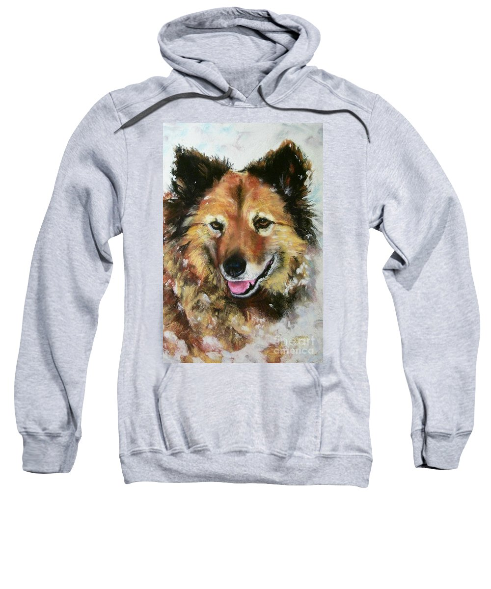 Dog Sweatshirt featuring the painting Akia by Frances Marino