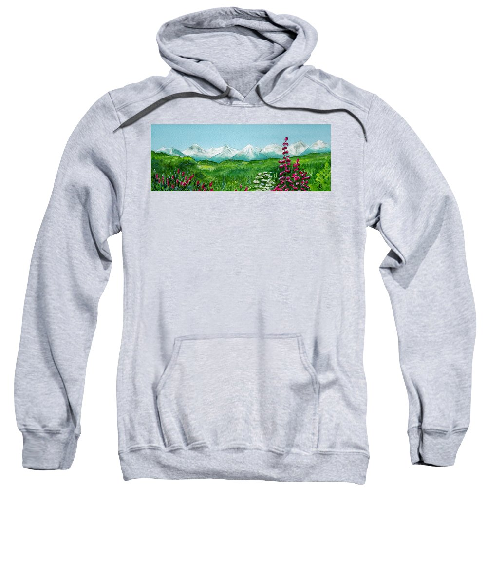Landscape Sweatshirt featuring the painting Alaska Splendor by Brenda Owen