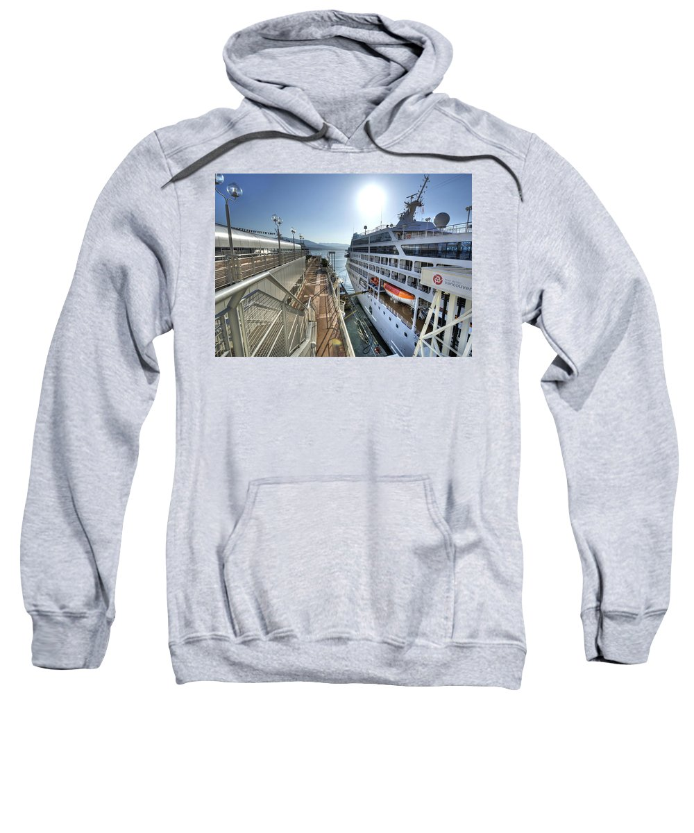 Canada Place Sweatshirt featuring the photograph Alaskan Cruise Ship Berthed In Vancouver by Doug Matthews