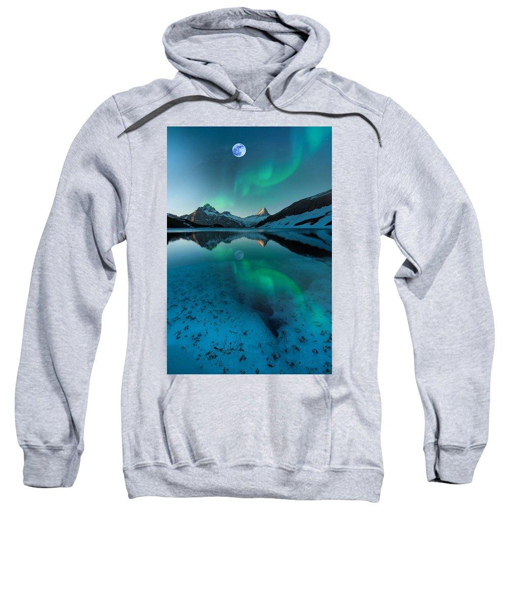Nature Sweatshirt featuring the painting Alaskan Winter Night By Adam Asar 2 by Adam Asar