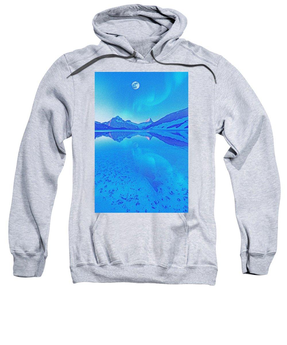 Abstract Sweatshirt featuring the painting Alaskan Winter Night By Adam Asar 3 by Adam Asar