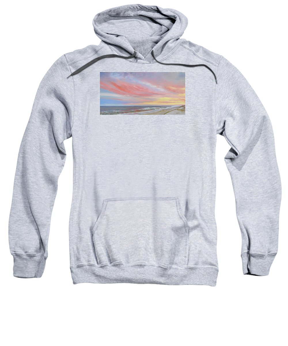 Seascape Sweatshirt featuring the painting Alberta's Sunset by Lea Novak