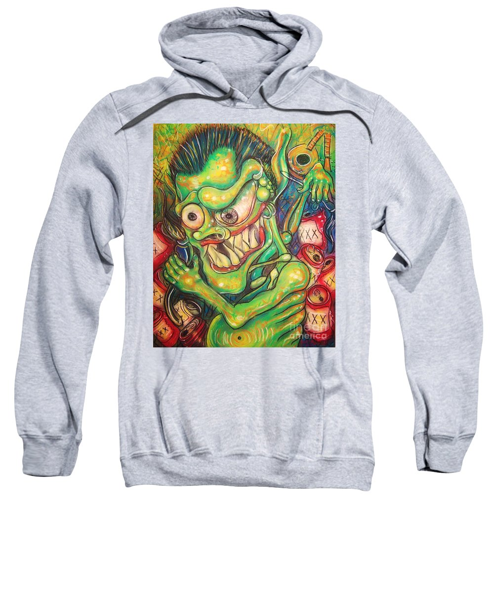 Beer Sweatshirt featuring the painting Alcoholic Demon by Americo Salazar