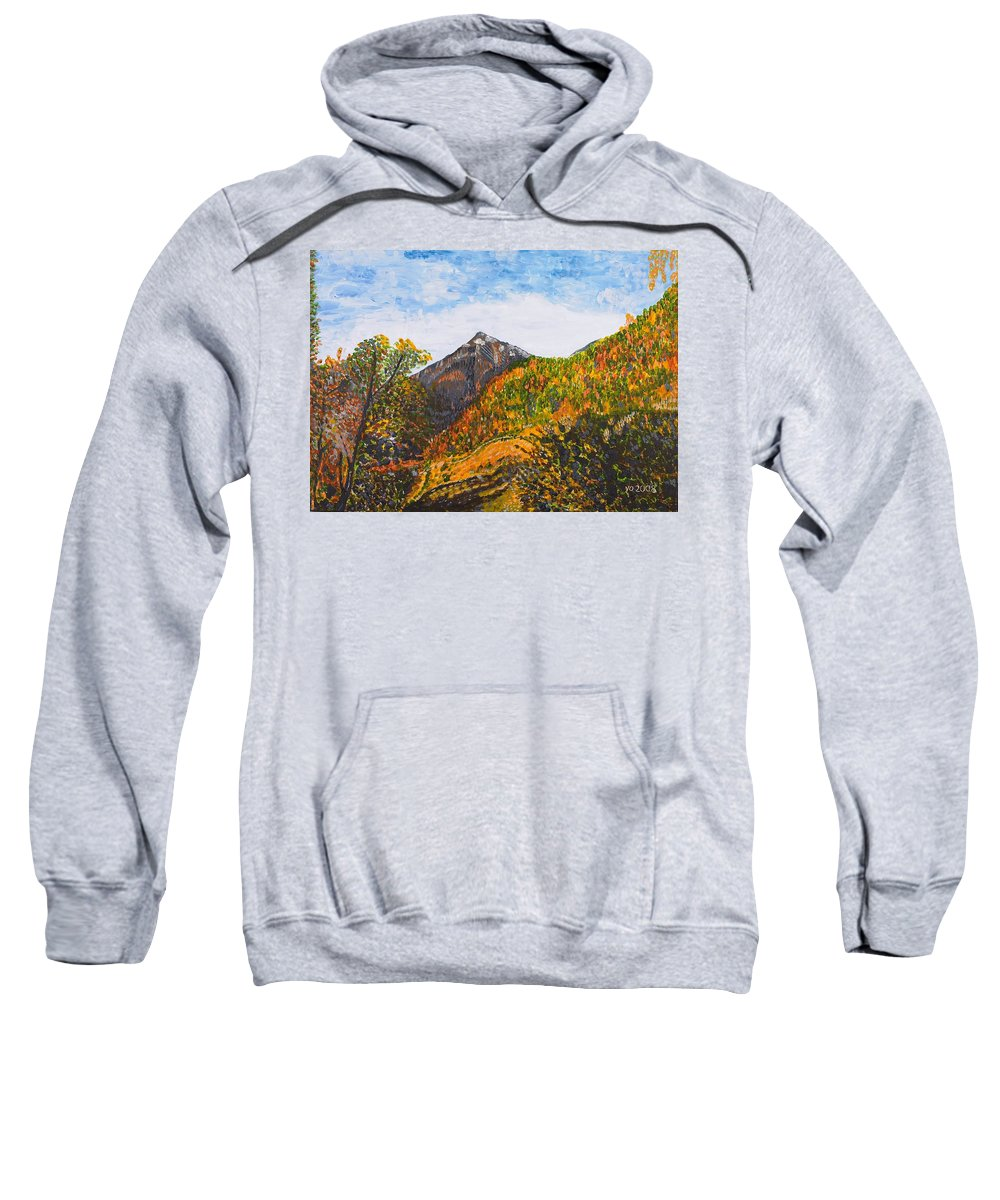 Landscape Sweatshirt featuring the painting Algund View by Valerie Ornstein
