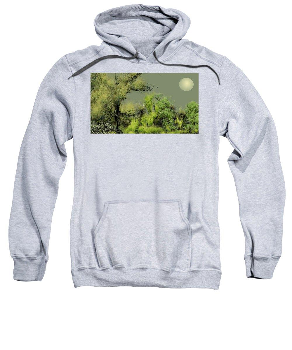 Digital Fantasy Painting Sweatshirt featuring the digital art Alien Garden 2 by David Lane