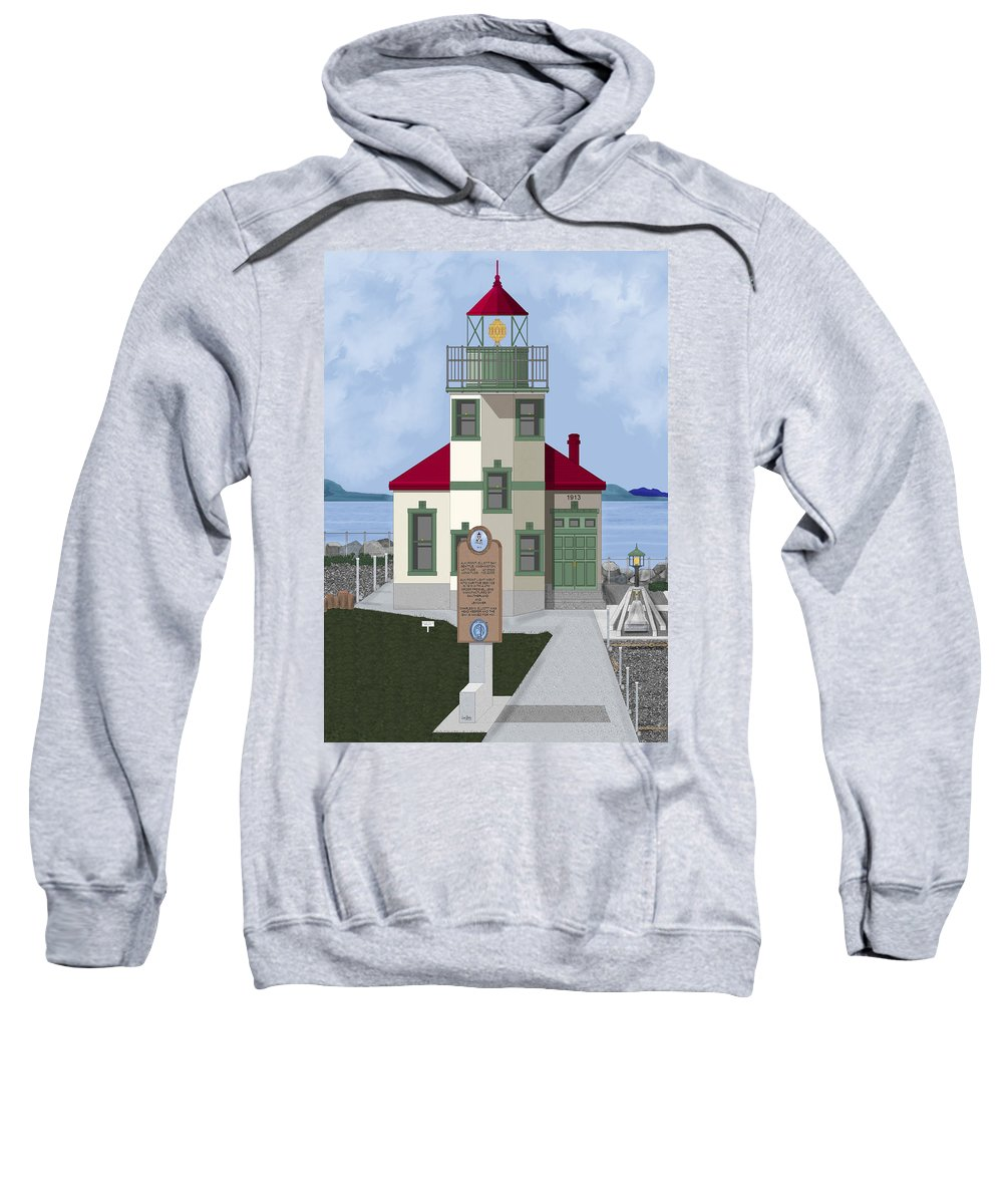Lighthouse Sweatshirt featuring the painting Alki Point On Elliott Bay by Anne Norskog