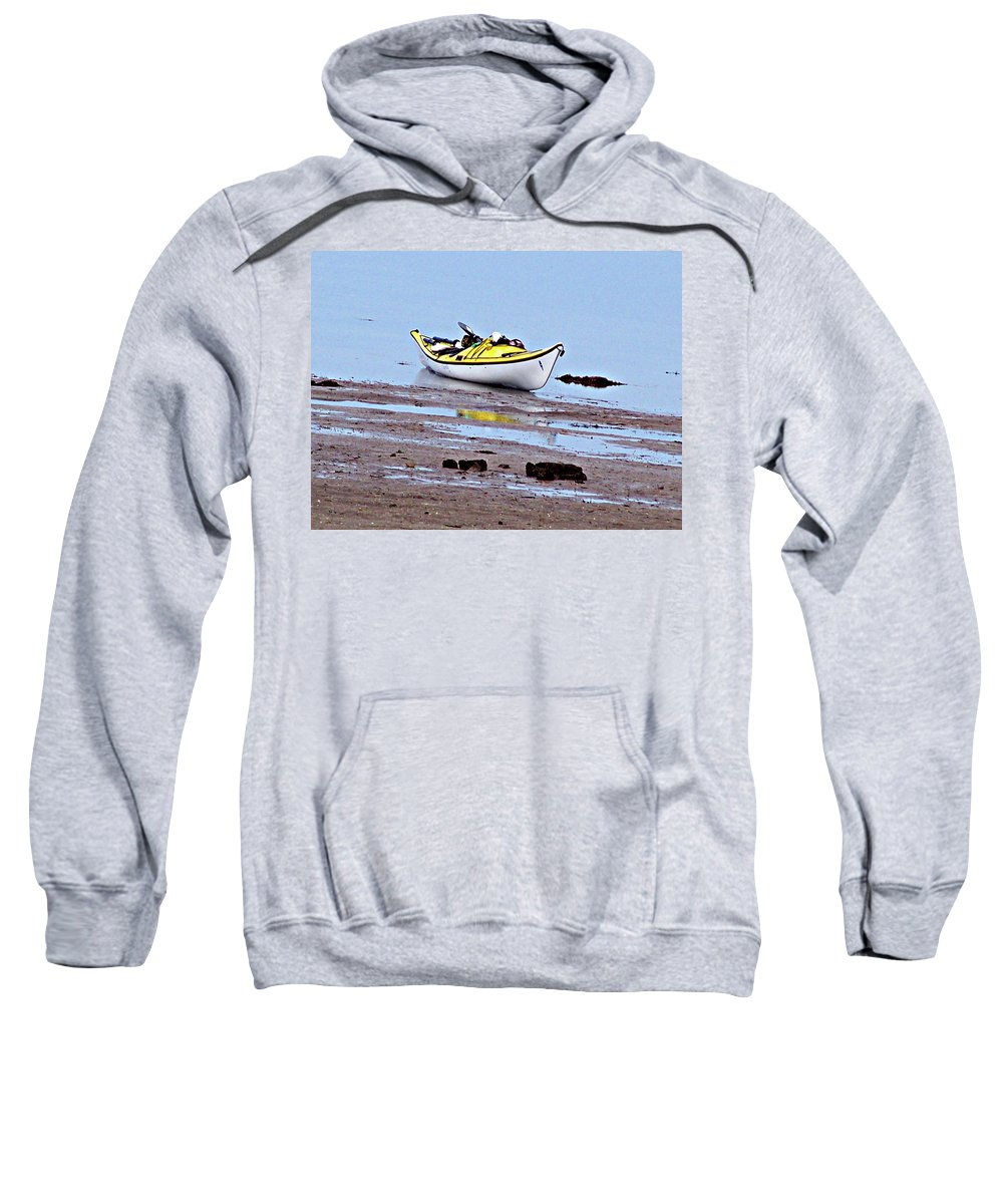 Kayak Sweatshirt featuring the photograph All Alone by Marilyn Holkham