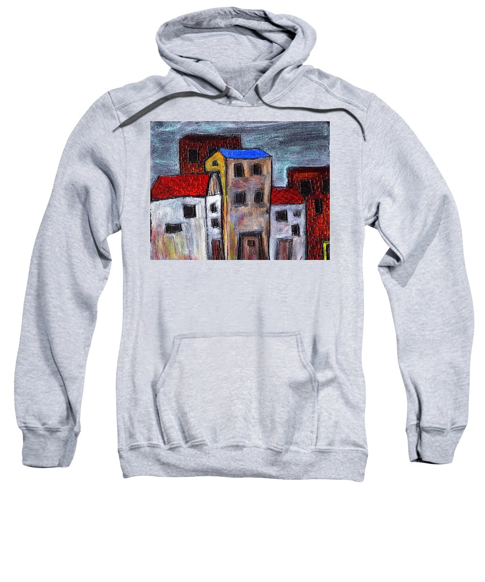City Scene Sweatshirt featuring the painting Alley Doors by Wayne Potrafka