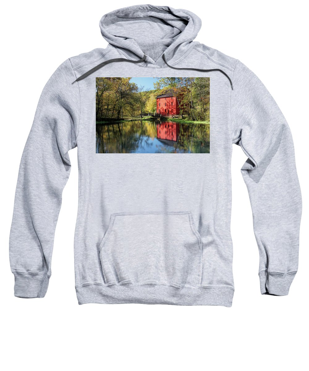 Alley Spring Sweatshirt featuring the photograph Alley Spring Mill Reflection by Alan Hutchins