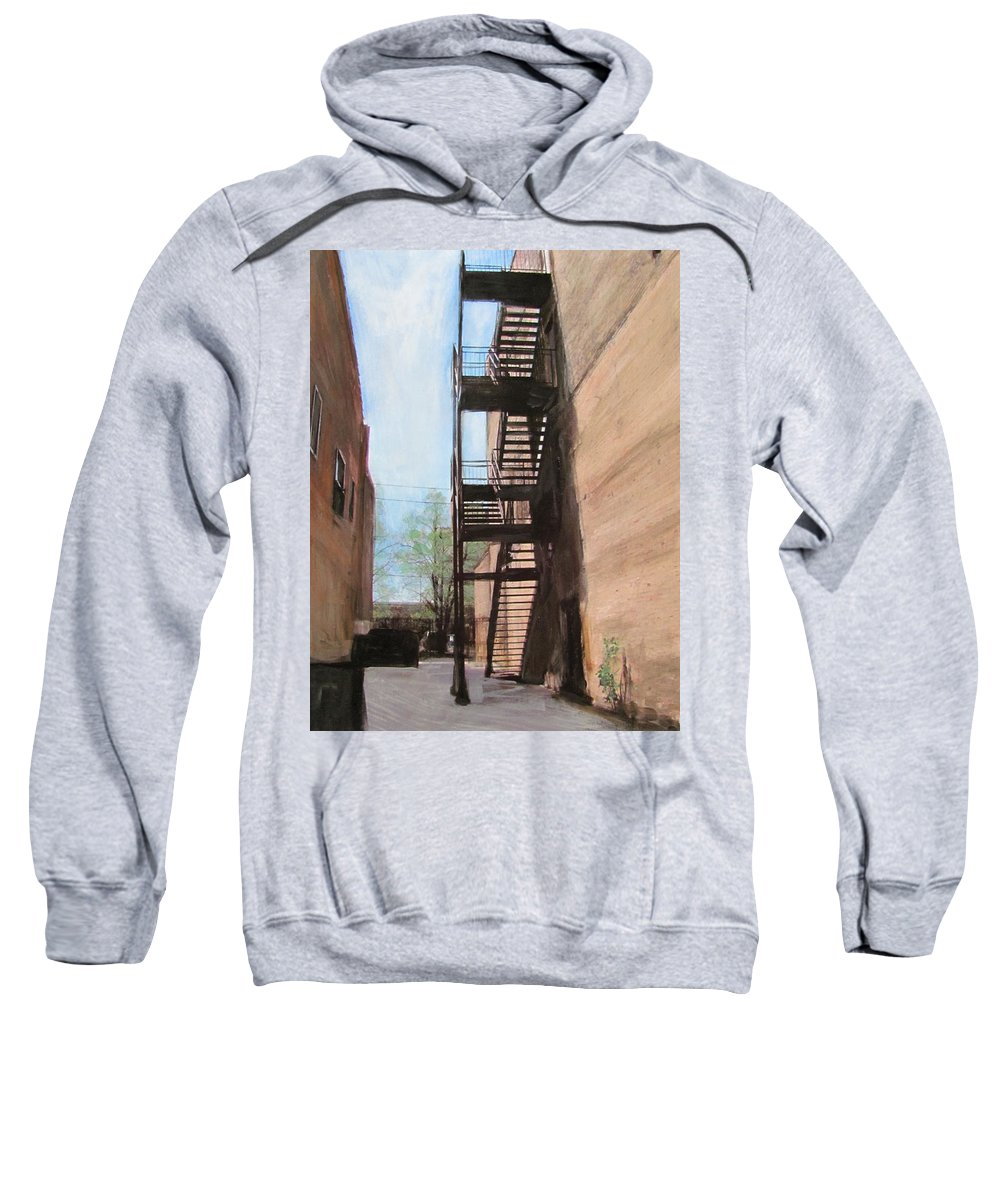 Alley Sweatshirt featuring the mixed media Alley W Fire Escape by Anita Burgermeister