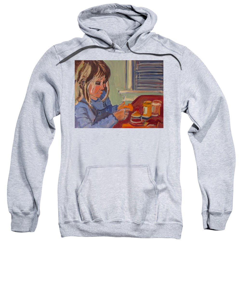 Child With Play Dough Sweatshirt featuring the painting Allie And Play Dough by Betty Pieper