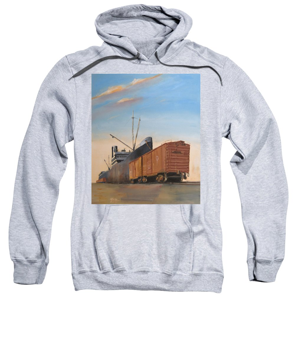 Ship Sweatshirt featuring the painting Allied Orient Lines by Christopher Jenkins