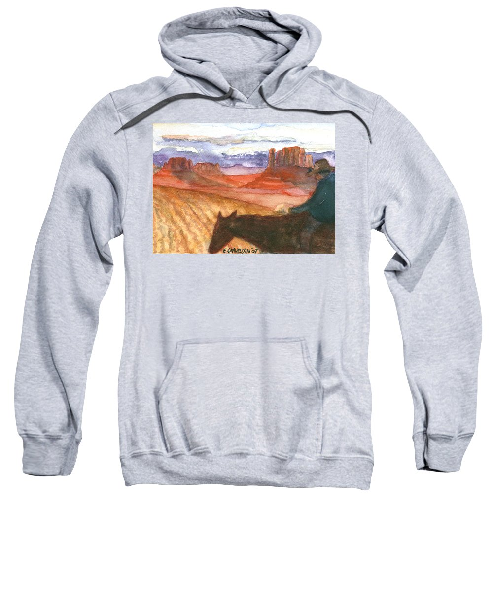Navajo Sweatshirt featuring the painting Almost Home by Eric Samuelson