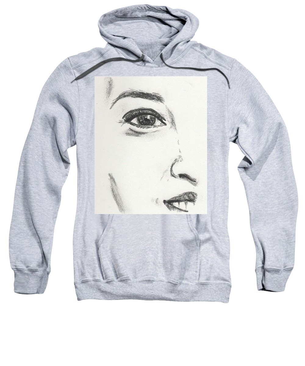 Eye Sweatshirt featuring the drawing Almost by Toualith MEANGO