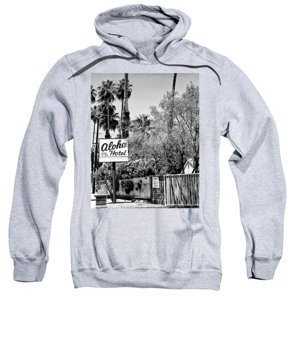 Old Hotels Sweatshirt featuring the photograph Aloha Hotel Bw Palm Springs by William Dey