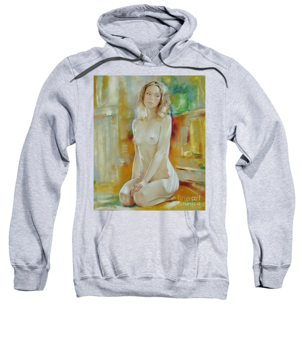 Art Sweatshirt featuring the painting Alone At Home by Sergey Ignatenko