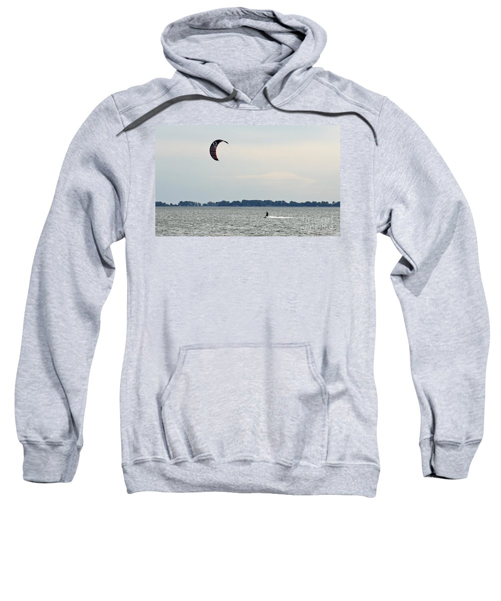 Kiteboard Sweatshirt featuring the photograph Alone On The Water by John Wijsman