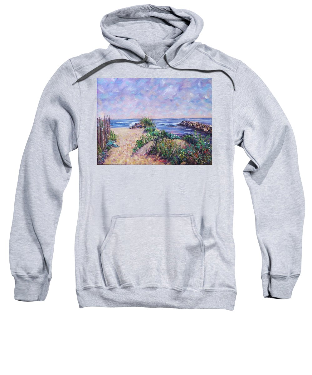 Shore Sweatshirt featuring the painting Along The Breachway Rhode Island by Richard Nowak