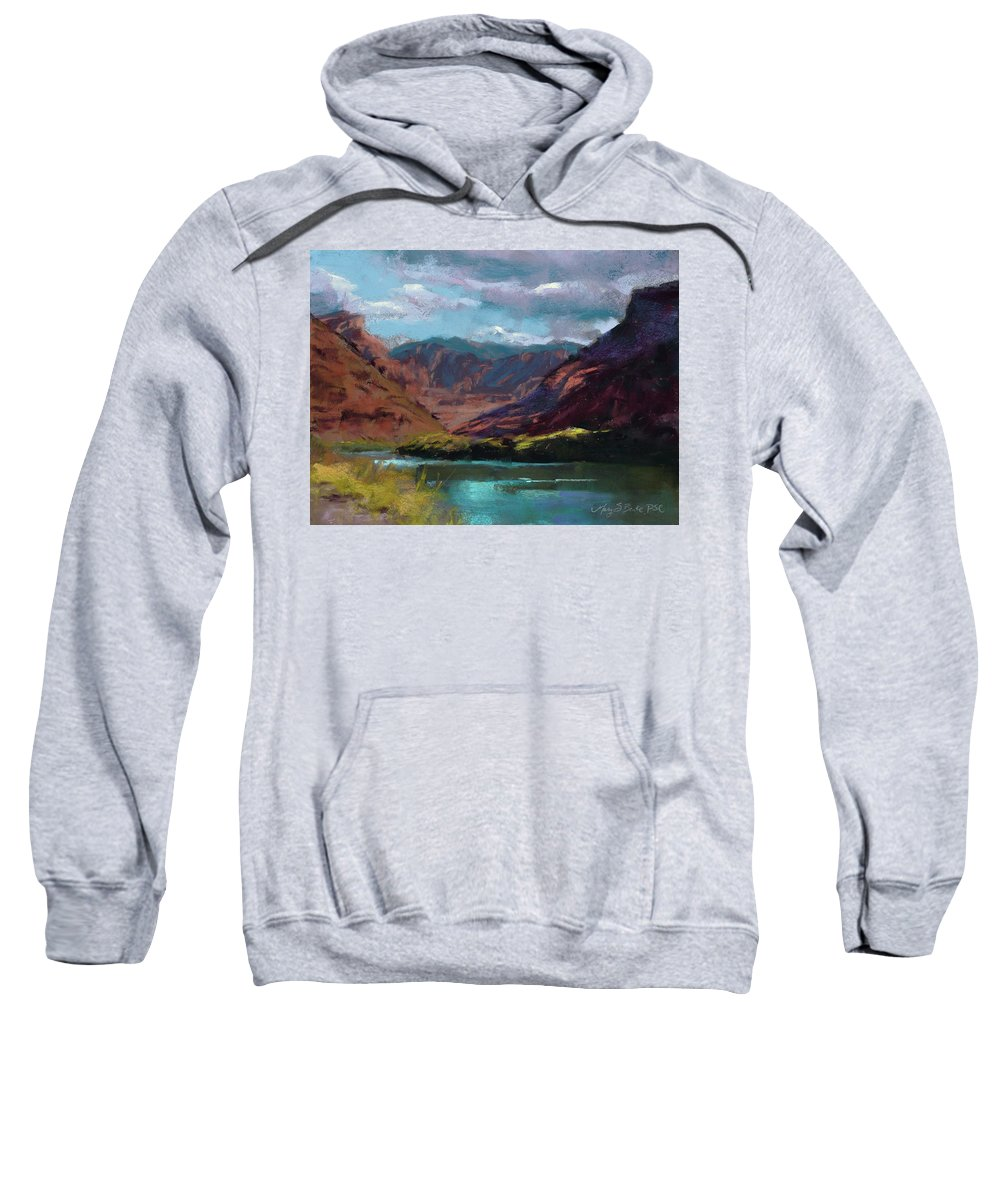Colorado River Sweatshirt featuring the painting Along The Colorado by Mary Benke