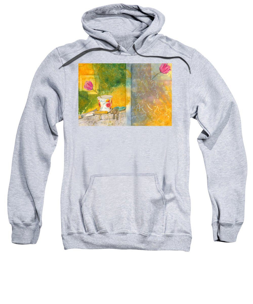 Garden Sweatshirt featuring the painting Along The Garden Wall by Jean Blackmer