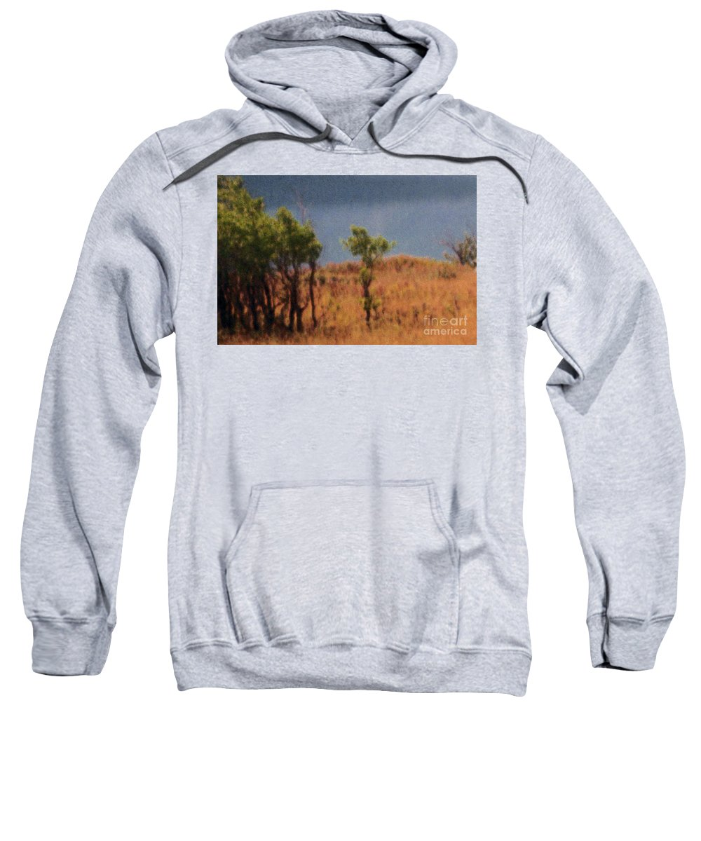 Field Sweatshirt featuring the digital art Along The Lake by Richard Rizzo