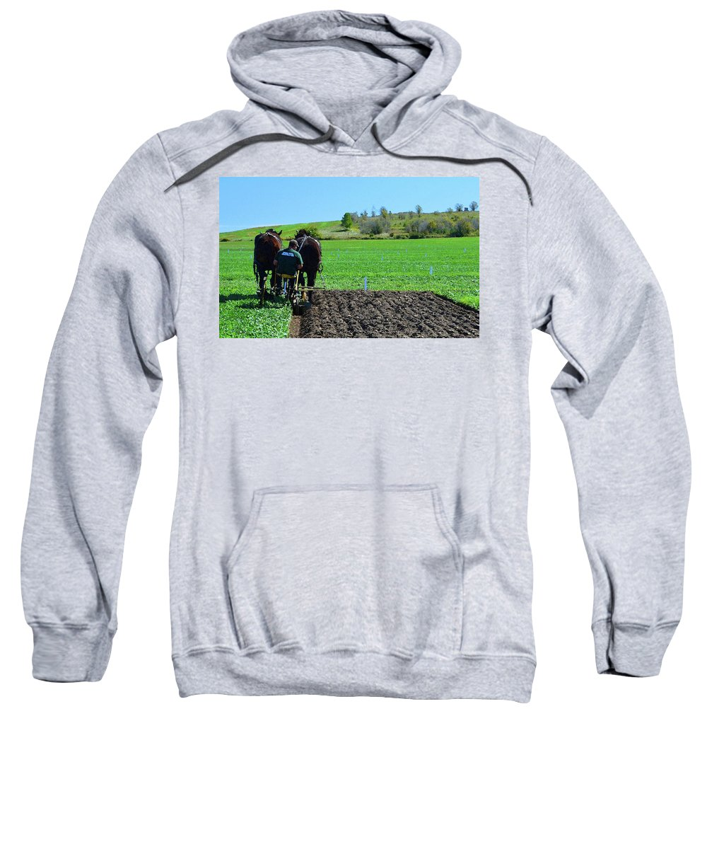 Horses Sweatshirt featuring the photograph Along The Row Four by Lyle Crump