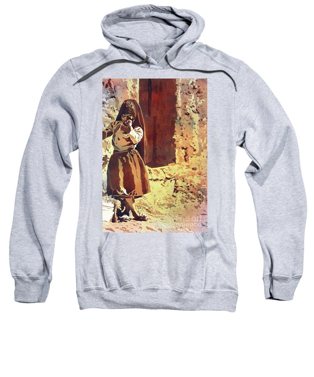 Lake Titicaca Sweatshirt featuring the painting Amantani Girl- Peru by Ryan Fox