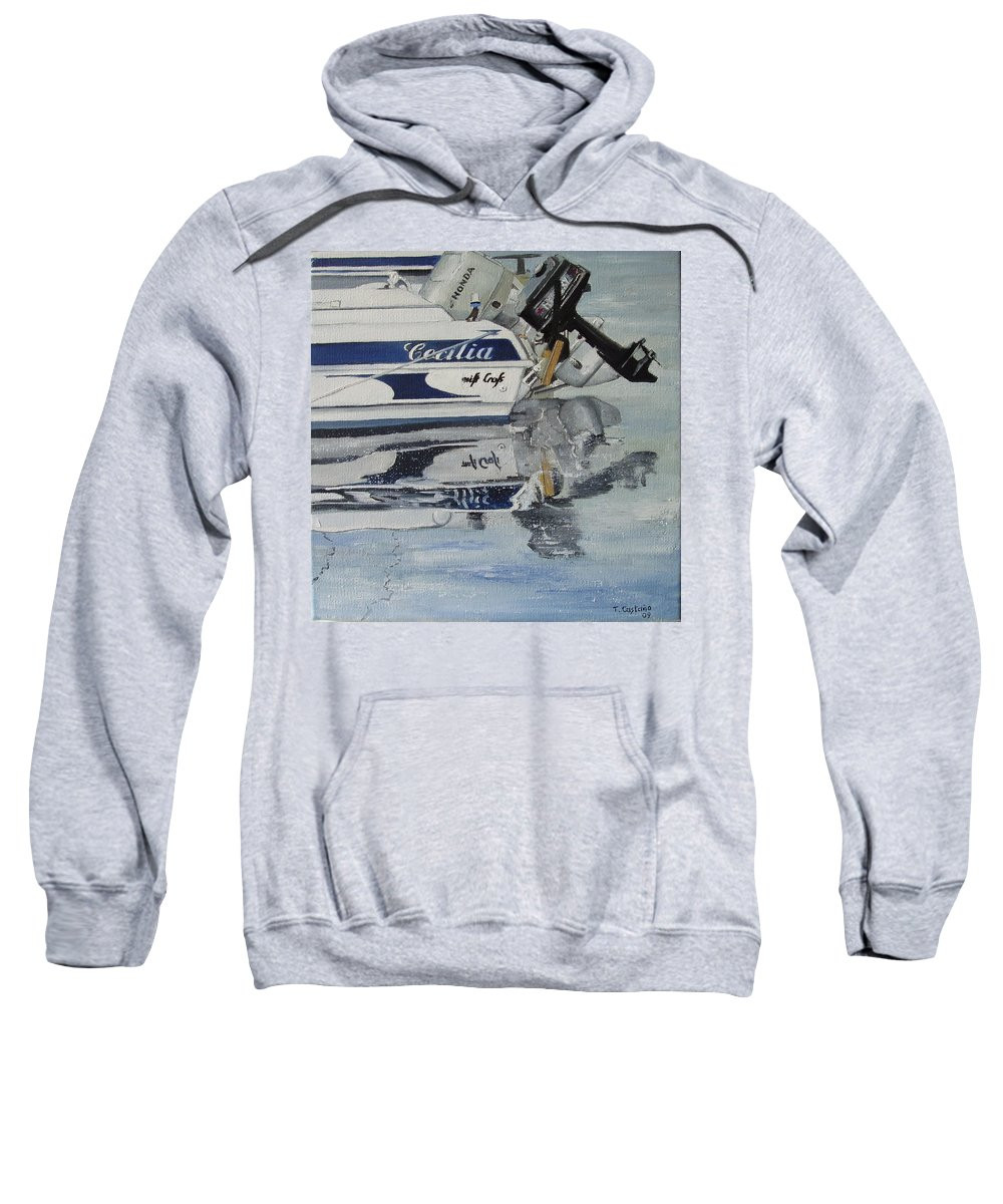Boats Sweatshirt featuring the painting Amarre En Raos by Tomas Castano