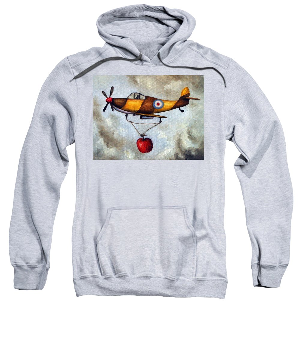 Plane Sweatshirt featuring the painting Amazing Race 4 by Leah Saulnier The Painting Maniac