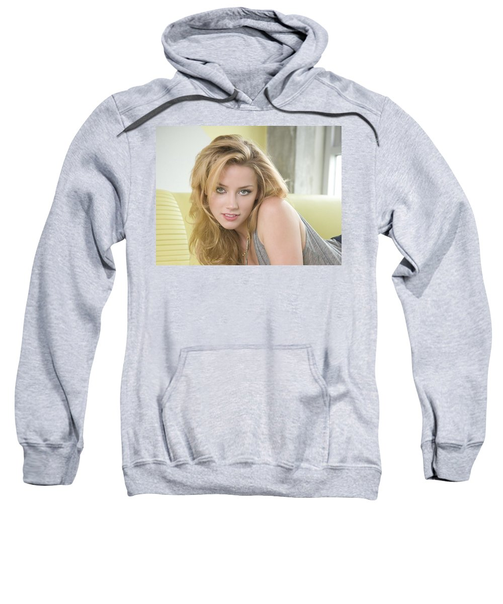 Amber Heard Sweatshirt featuring the digital art Amber Heard by Bert Mailer