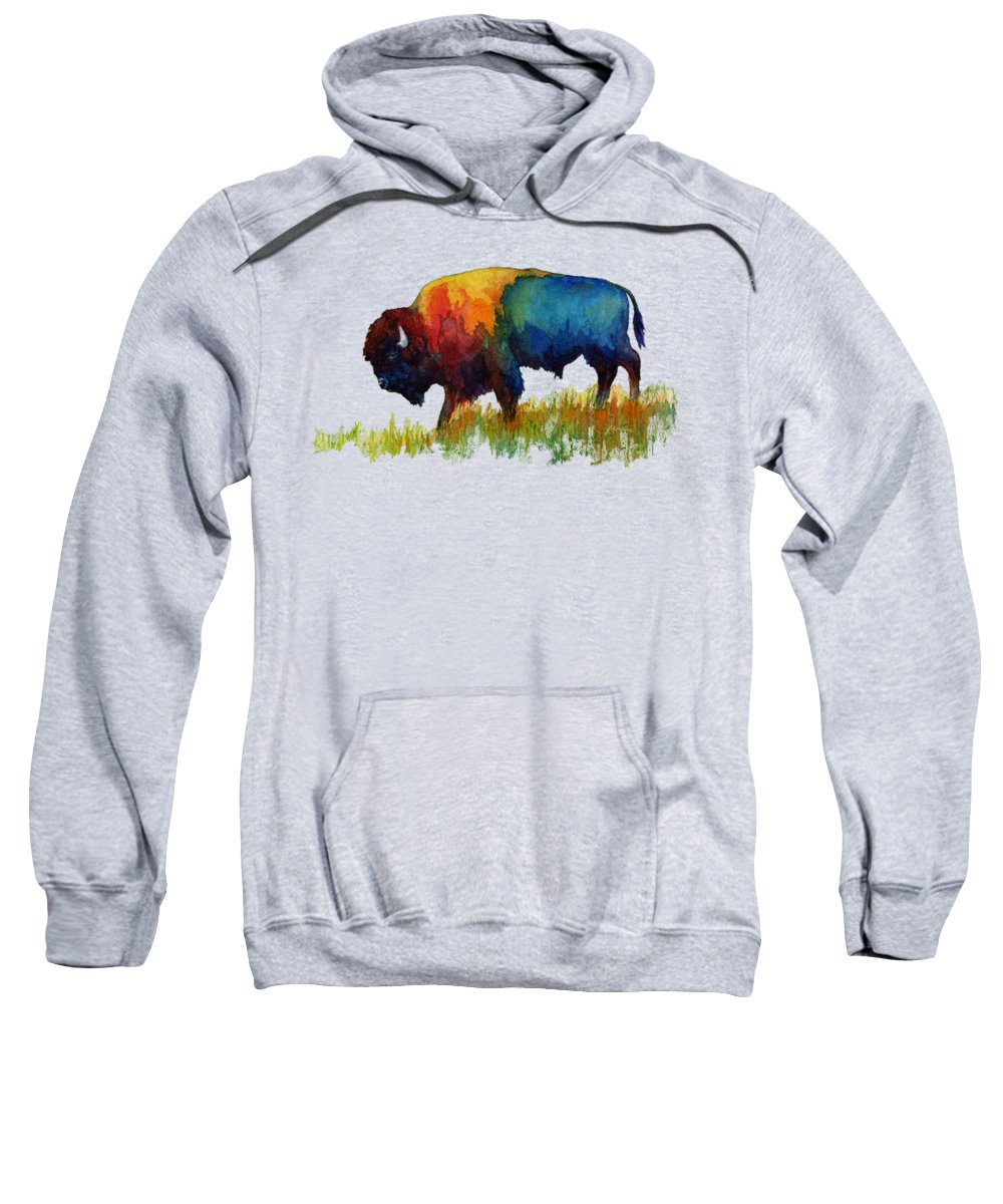 Bison Sweatshirt featuring the painting American Buffalo IIi by Hailey E Herrera